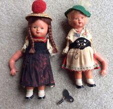 Pair Vintage German Mechanical Dolls. Both Work, Comes With 1 Key.
