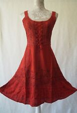 Short red boho hippy pagan medieval corset gothic steampunk dress Size UK 16 18