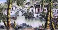 ORIGINAL ASIAN FINE ART CHINESE FAMOUS SANSUI WATERCOLOR PAINTING-House&bamboo