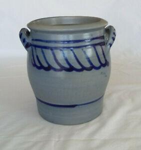 Steinzeug-Topf blau-grau, 5 Liter, Dmr. ca. 20 cm, H: ca. 24 cm, Vintage