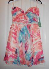 Love Reign Jrs Sz 9 Strapless Jeweled Waist Mini Floral Chiffon Party Dress NWT