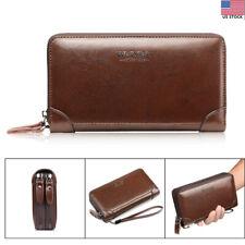 Men Leather Wallet Clutch Handbag Mobile Phone Business Bag Card Holder Purse US