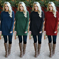 Womens Winter Casual Long Sleeve Mini Dress Jumper Pullover Loose Top Sweatshirt