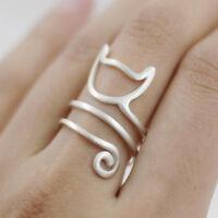 925 Sterling Silver Womens Matte Kitten Cat Adjustable Wrap Ring Girl's Gift
