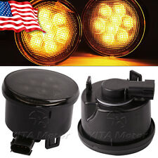 2 X Amber LED Turn Signal Lights Smoke Lens Front Grill For Jeep Wrangler JK