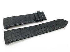 Original Jaeger Le Coultre Black Leather Band Strap Alligator Pattern