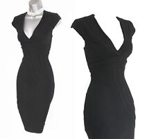 Karen Millen Black Wool Blend V Neck Cup Sleeves Formal Office Pencil Dress12 40
