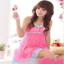 Womens Lace Dress Sexy Lingerie Babydoll Sleepwear Underwear Nightwear pink reg
