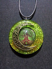 Celtic Tree of Life and Moon in Sparkly Green Pearl Resin, Celtic,spiritual