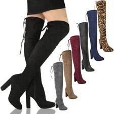 New Womens Thigh High Boots Over the Knee Party Stretch Block Mid Heel Plus Size