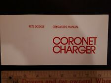 1972 DODGE Charger - Original Owners Manual - Excellent Condition (NOS) (US)