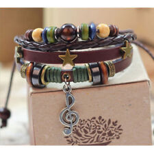 Vintage Leather Music Note Infinity Bracelet Charm Silver Beads Jewelry Gift New