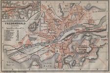 HALDEN Fredrikshald antique town city byplan. Norway kart. BAEDEKER 1912 map