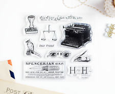 Vintage Objects, Typewriter, Clear Stamps 4x4 inch Photopolymer Scrapbooking