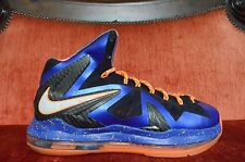 "WORN TWICE Nike LeBron PS Elite ""Super Hero"" X 10 SIZE 8 Blue Orange White"