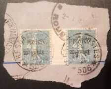 FRANCE, LEVANT, TURKEY, 7 PIASTER 20 PARA, GUTTER PAIR, USED, FREE SHIPPING!!!