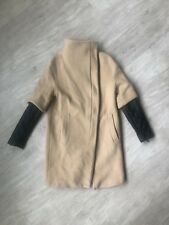 Zara Rare Quilted Vegan Leather Sleeve Beige Wool Trench Coat!!! Size Small!!!