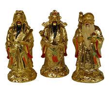 "5"" Gold Feng Shui Three Deitie Fuk Luk Sau Statue"