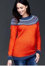 NWT Gap Maternity Orange Wool Fair Isle Pullover Crew Sweater 166767 - Size M