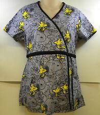 Peanuts Snoopy Woodstock Scrub Top Grey Yellow Black Small