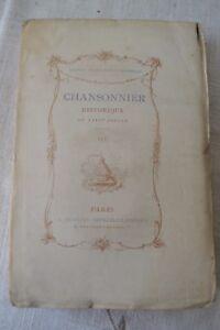 CHANSONNIER HISTORIQUE DU XVIIIE SIECLE PAR E. RAUNIE ED QUANTIN 1880 T3 BE
