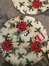 4 Pc Set Round Braided Woven Placemats Red Poinsettia New