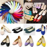 WOMENS FLATS PUMPS LADIES BALLET BALLERINA DOLLY BRIDAL CASUAL SINGLE SHOES NEW