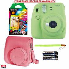 Fujifilm Instax Mini 9 Instant Camera - Rainbow Instant Film, Case + Strap