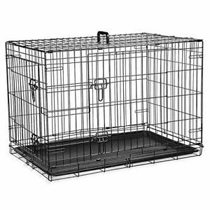 Dog Cage Crate – Pet Black Metal Folding Cage with 2 Doors (Front & Side) with