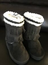 NEW Toddler Girls Black Winter Boots, Size 7