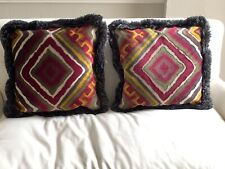 """Pair Of 18"""" Custom Throw Pillows - Designer, Donghia Fabric, Down Filled Inserts"""