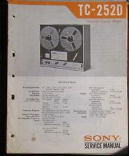 Sony TC-252D OPEN REEL tape service repair workshop manual (original)