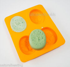 Ovale Albero della Vita 4 Cella rettangolare Stampo in Silicone Sapone Stampo rende le barre 140g