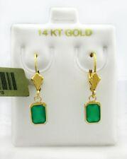GENUINE 1.85 cts GREEN ONYX Dangling EARRINGS 14k Yellow Gold  *FREE SHIPPING*