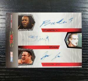 2008 Sting Booker T Samoa Joe AUTO Rare Triple WWE TNA Wrestling Card Tristar SP