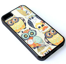 for iPhone 5C - Vintage Floral Owl Birds Hard Rubber Gummy TPU Skin Case Cover