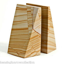 "BOOKENDS - "" OXFORD STREET"" NATURAL MARBLE BOOKENDS"