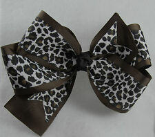 Personalized Embroidered Chocolate Brown Snow Leopard Grosgrain Double Hair Bow