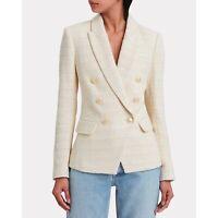 $675 L'Agence Kenzie Ivory Tweed Double Breasted Blazer Jacket Women's US 12