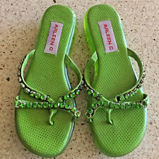 Womens Sandals 7 Comfort Wedge Thong Arleen C Rubber Green with Rhinestones $180