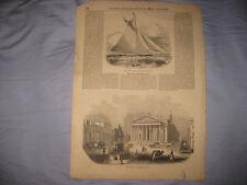 ANTIQUE 1853 AMERICAN YACHT MARITIME PRINT ROYAL EXCHANGE LONDON ENGLAND SUPERB