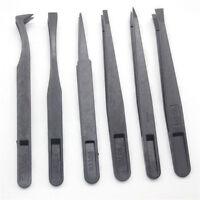 6pcs Black Precision Tweezer Kit Set Plastic Anti Static Tool Size 1/2/3/5/6/8