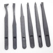 6pcs Black Precision Tweezer Set Plastic Anti Static Tool Kit Size 1/2/3/5/6/8