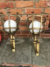 Pair Of Vintage Spanish Forja Gothic Revival Wrought Iron Wall Lights Sconce