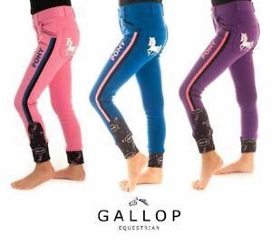 "Gallop Kids Girls Horse Riding Breeches Jodhpurs Pony Pink Purple 18"" - 26"""