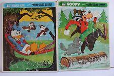 Lot 2 Vintage Disney Donald Duck Chipmunks Goofy Tray PUZZLE Whitman Frame