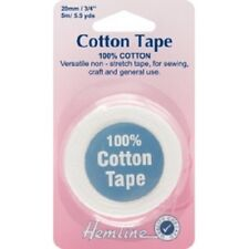 100% Cotton Non Stretch Tape 5m x 20mm- Black or White - Sew Bunting Drawstring