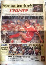L'Equipe Journal 28/04/1992; Hockey; Canada-France/ Monaco-Cannes/ Cantona