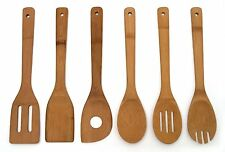 Set Wooden 6 Cooking Utensil Kitchen Piece Spatula Bamboo Tools Spoons Wood Kit