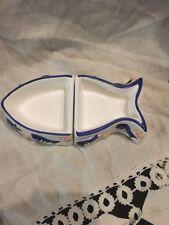 Cat Stoneware Pet Food Bowl Fish Shape 2 Piece